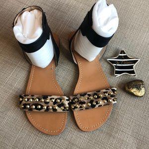 G by Guess Leopard Ankle Wrap Flats Sandals Shoes